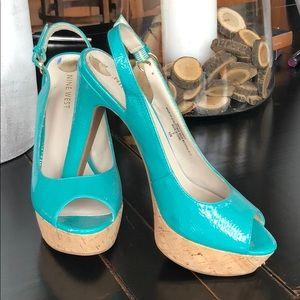 Nine west 6 1/2 turquoise open toe